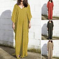 UK Women Bohemia Printed Polka Dot Batwing Loose Long Dress Kaftan Plus Size
