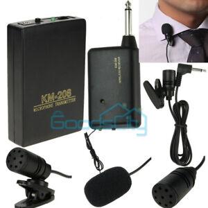 Wireless FM Transmitter Receiver Mini Microphone Lavalier Lapel Clip Mic System