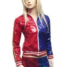 Ladies Womens Red Blue PVC Wet Look Long Sleeve Zipper Jacket Fancy Party Coat