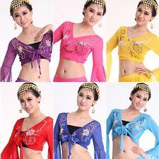 Belly Dance Choli Blouse Tribal Embroidery Garments Elastic Veiling Top Bra