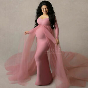Women Pregnant Dresses Maternity Stretchy Gown Long Sleeve For Photography Shoot