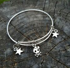 Handmade Halloween Fairy Pirate Bangle Bracelet Peter Pan Tinkerbell skull Bones