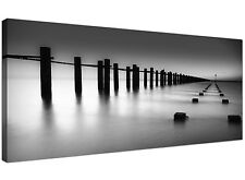 Black White Cheap Canvas Picture of Jetty Beach  - 120cm x 50cm - 1085