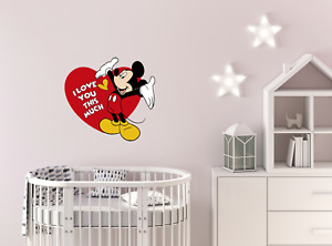 Wall sticker positive quote poster Mickey Mouse Love vinyl kids decor peel stick