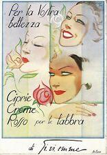 PUBBLICITA' 1936 GI.VI.EMME BELLEZZA DONNA CIPRIA CREMA ROSSETTO G.ABKHASI