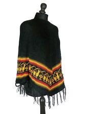 Poncho péruvien en laine (franges, frise motif lamas et montagnes) ORIGINE PEROU