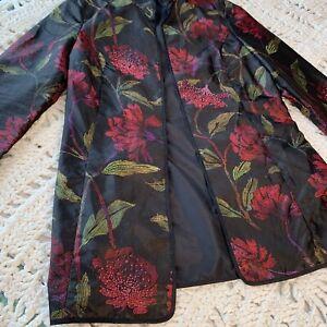 Chicos 100% silk size 0 Kimono Jacket Cardigan Floral Beaded Long Sleeve