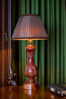 "Handmade executive desk lamp ""Mediterranean Antique Classic"", a carved rare wood"