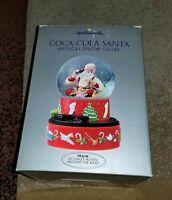 Hallmark Coca-Cola Santa Musical Snow Globe with Original Box Moving Train 2001