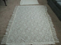 """Lot of 2 Vintage Lace Panels 62"""" W x 72"""" L Off White w 6"""" side ruffle JC Penney"""
