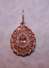 HUGE ROSE GOLD PEAR CUT  COR-DE-ROSA & DIAMOND  MORGANITE DESIGNER PENDANT