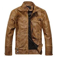 Fashion Men Tops Designer PU Leather Biker Jacket Motorcycle Coat Zip Up Outwear