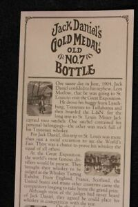 Poster Jack Daniel's Gold Medal Whiskey Old No.7 Bottle History Whiskey