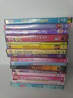 Lot Of 16 Girls Kids Youth Toddler DVD Lot - Barbie, Care Bears, Bratz, Princess