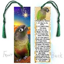 GREEN CHEEK CONURE Large BOOKMARK Tassel PET Bird Parrot RULES Law Book Figurine