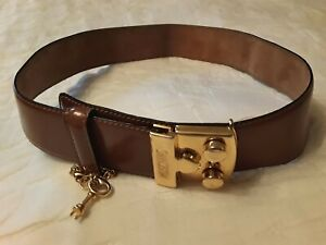 Authentic Vintage Moschino Red Wall Leather Lock with Key Buckle Belt for Women