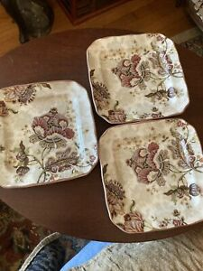 222 Fifth Gabrielle (3)Square Appetizer Plates Floral Paisley on Cream Scalloped