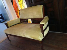 Original Victorian Eastlake gold settee c1880s. walnut WOOD CASTERS parlor bench