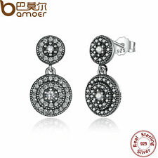 Bamoer Retro 925 Sterling Silver Dangle Earrings For Women With Round Clear CZ
