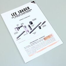LEE LOADER STRAIGHT SIDED PISTOL RIFLE CARTRIDGES INSTRUCTION OWNERS MANUAL USER