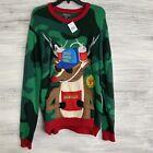 33 Degrees ugly Christmas Sweater Mens Med camo 3D Pocket Brewdolph Santas Squad