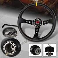 350MM Black / Yellow Leather Deep Dish 6 Hole Steering Wheel + For Toyota Hub
