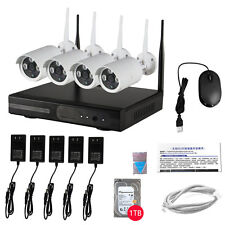 1TB HDD 4CH Wifi NVR P2P HD 720P Wireless Outdoor Security IP Camera CCTV System