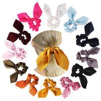 New Satin Rabbit Ear Hair Tie Band Scrunchies Big Bow Elastic Ponytail Wrap Rope