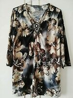 """MYSTIQUE WOMENS BROWN FLORAL TOP SIZE 16 M/L PIT TO PIT 20 """" STRETCH 3/4 SLEEVE"""