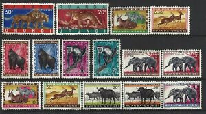 Ruanda-Urundi. Animals. 1959-61 Scott 137-150 MLH (BI#23)