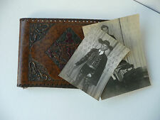 ANTIQUE PHOTO ALBUM Tooled Leather Collection of 40 Photos London Spain Italy