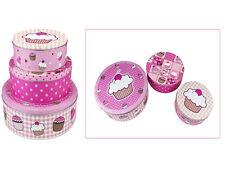 Nuevo 3pc Rosa Cupcake Pastel Cookies Galletas Dulces Galletas De Lata Caja de almacenamiento Cajas