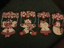 (4) Candy Topped Figure Ornaments Bear Santa Snowman Angel