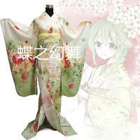 Japanese Japan Women Light Green Floral Long Furisode Kimono Cosplay Costume