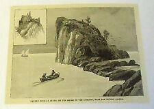 1885 small magazine engraving~ DANTE'S ROCK AT DUINO, Shore of the Adriatic