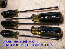 SECURITY DRIVERS, STANLEY, LARGE-GRIP, HOLE-IN-PIN, CCTV- 5/32 TIP, FIVE NEW