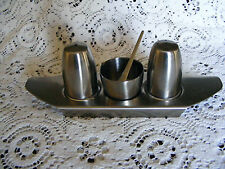 Old  Hall   Stainless  Steel  Cruet  Set  Complete  With Tray  &  Correct  Spoon