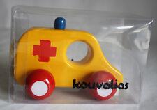 ULTRA RARE VINTAGE KOUVALIAS HOSPITAL CAR 2 WOODEN GREEK TOY GREECE NEW IN BOX !
