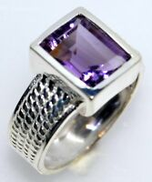 Emerald cut Amethyst Sterling Silver Ring Purple Gem 925 Rings Size 5½ L to 9½ T