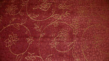 Brick Gold Flower Print Chenille Upholstery Fabric 1 Yard  R235