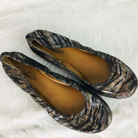 Lucky Brand Emmie Metallic Zebra Ballet Flats Size 7.5 Animal Print ~ EUC