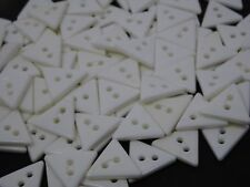 Vintage White Triangular 2-Hole Buttons 15mm Lot of 144 B44x