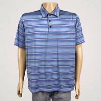 Adidas ClimaCool Golf Polo Shirt LARGE Blue Silver Gray Stripe Polyester