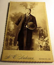 c1880 Man Holding Hat Anderson Photographer in Richmond, Maine Cabinet Photo