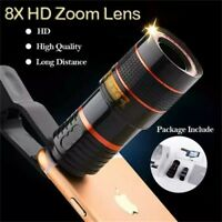 1pcs Universal 8X Zoom Mobile Lens Phone Camera Cell Clip Optical Telescope Kit