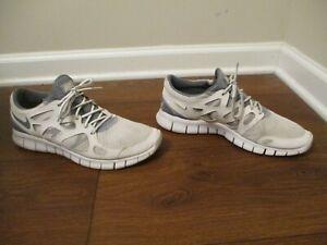 Used Worn Size 11.5 Nike Free Run 2 Shoes White Gray 443815 100