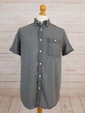 Topman Men's Grey Classic Fit 100% Cotton Short Sleeve Button Down Shirt Size L