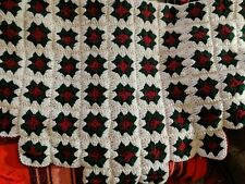 Vintage Afghan Crochet 3D Rose Granny Square Christmas White Red and Green 48x48