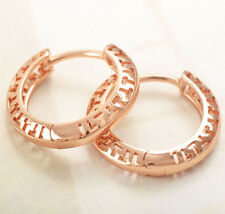 """Pretty New 9K Rose Gold Filled Openwork Small 5/8"""" Round Hoop Earrings"""