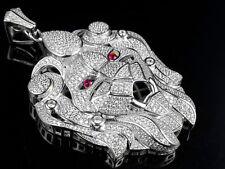 "Men's Sterling Silver White XL Lion Designer Head Lab Diamond Pendant Charm 2.5"""